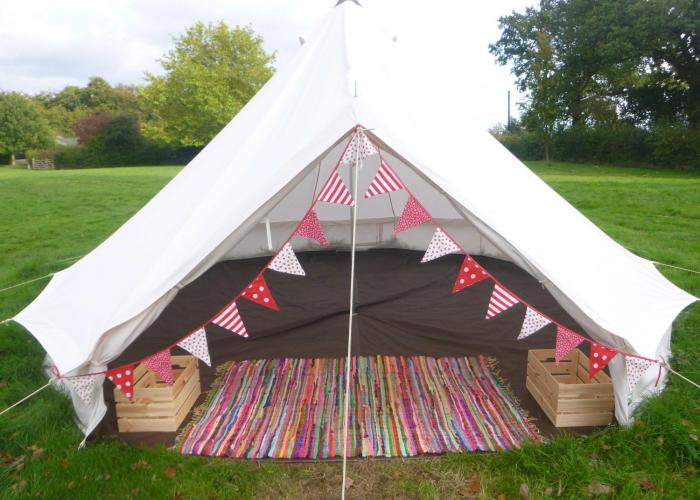 Bell Tents with added extra of Bunting.